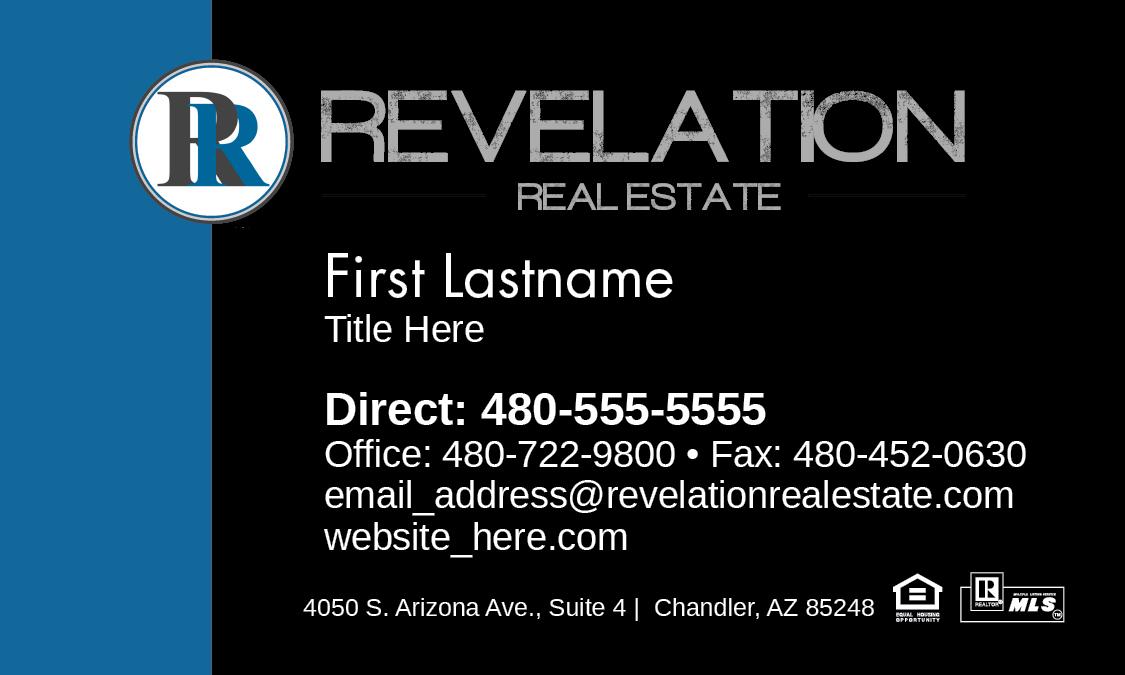 Revelation Real Estate business card, no photo