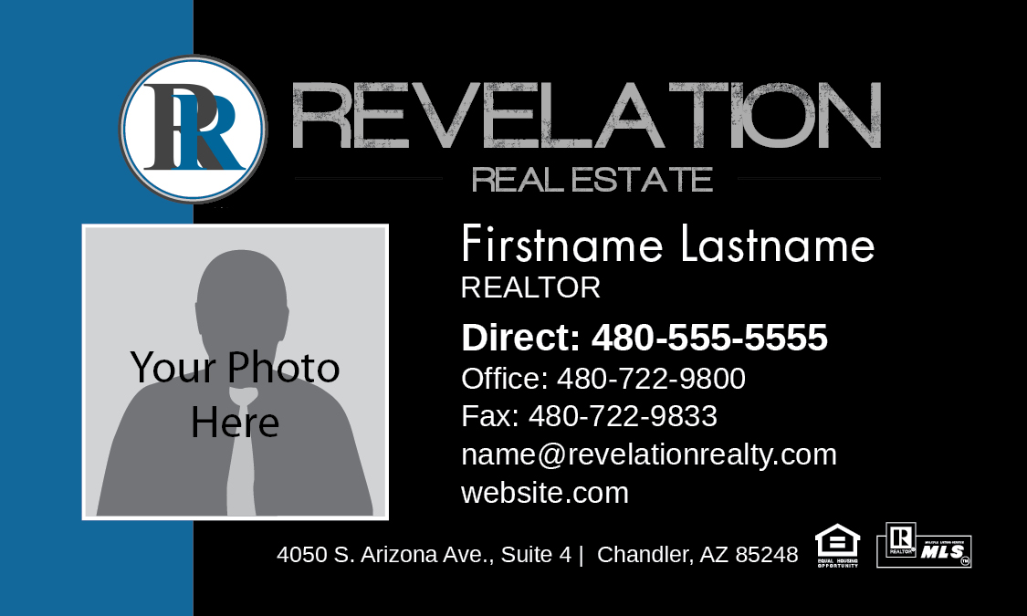 Revelation Real Estate business card, with photo